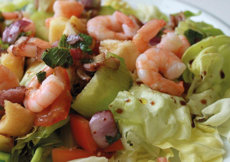 Salade de crevettes au curry