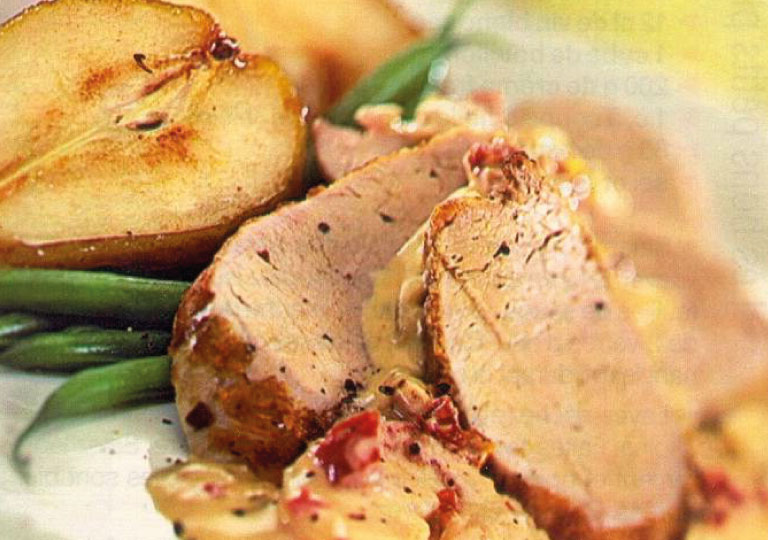 Escalopes de porc aux poires et brie