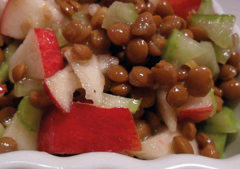 Salade rapide pommes et lentilles